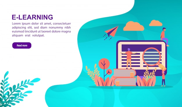 E learning illustration concept with character. landing page template