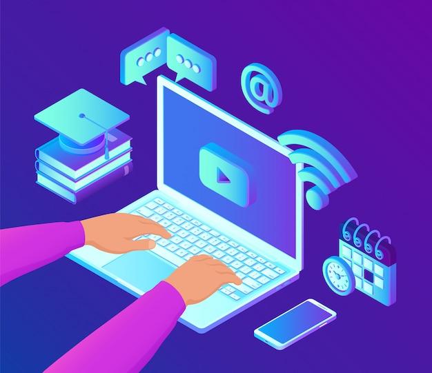 E- 러닝. 혁신적인 온라인 교육 및 원격 학습 3d 아이소 메트릭 개념.