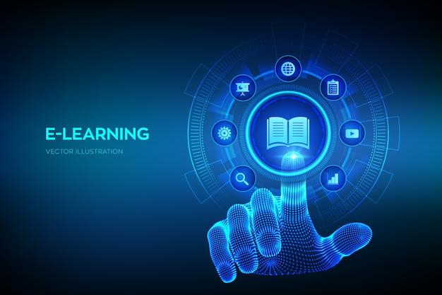 E- 러닝. 혁신적인 온라인 교육 및 인터넷 기술 개념. 디지털 인터페이스를 만지고 와이어 프레임 손.
