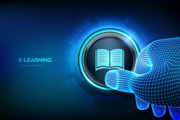Eラーニング。革新的なオンライン教育のコンセプト。ボタンを押しようとしているクローズアップの指。
