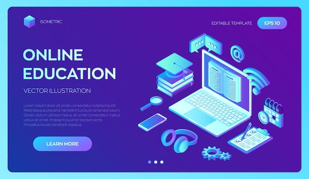 E-learning. innovative online education and distance learning 3d isometric banner