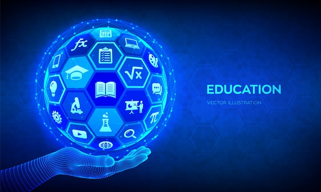 E-learning. innovative online education technology concept. abstract 3d sphere with surface of hexagons