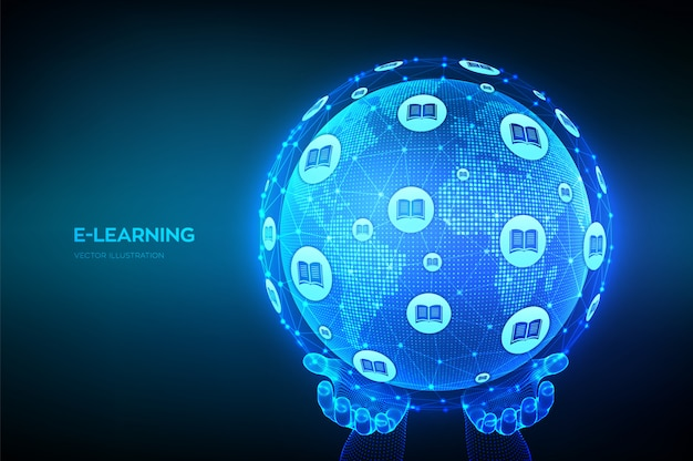 E-learning. innovative online education technology concept.