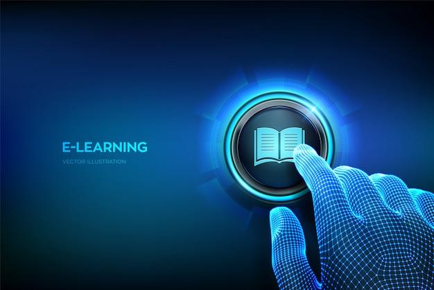 Eラーニング。革新的なオンライン教育、ウェビナー、教育コンセプト。ボタンを押しようとしているクローズアップの指。