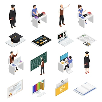 E-learning isometric icons set