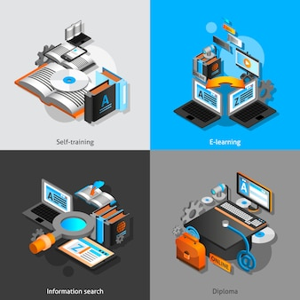 E-learning isometric set