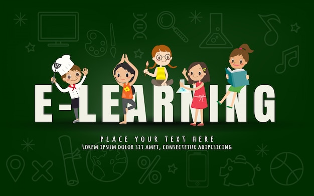 E-learning kids education course concept