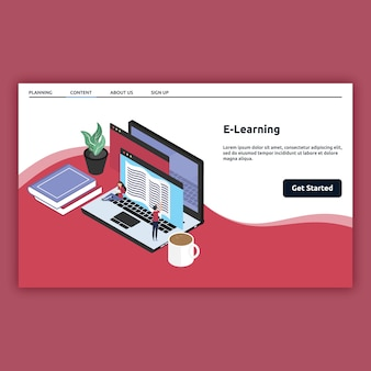 E learning landing page in isometric style