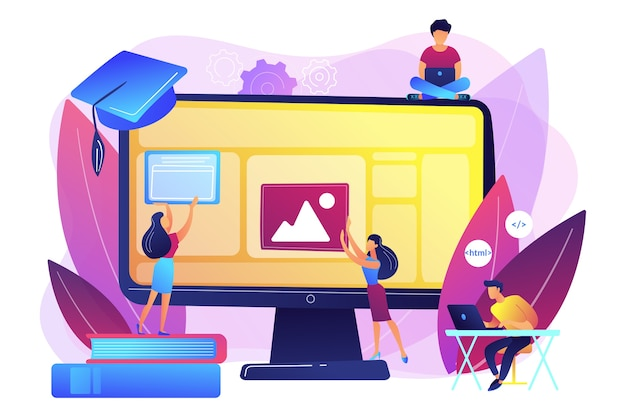 Eラーニング、オンラインクラス、ウェビナー。リモートit学習。 web開発コース、web開発プログラミング、トップオンラインコーディングコースのコンセプト。