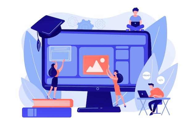 Eラーニング、オンラインクラス、ウェビナー。リモートit学習