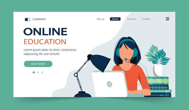 E learning and online courses landing page
