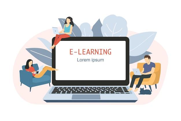 Eラーニング、家庭でのオンライン教育のコンセプト。ベクトルイラスト