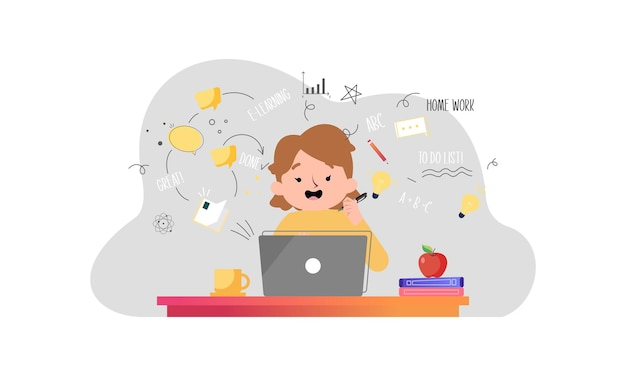 E-learning, online education concept illustration Premium Vector
