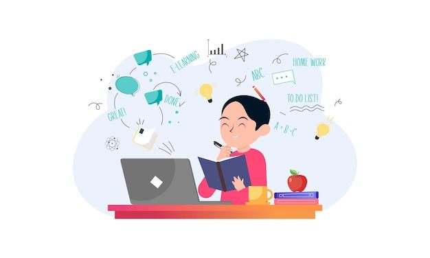 E-learning, online education concept illustration