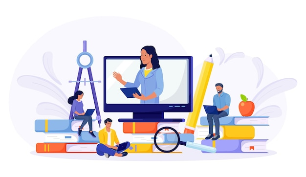 E-learning, online education at home by webinar training. young people using laptop for distance studying. guys sitting on pile of books and reading. business training, study guides, exam preparation