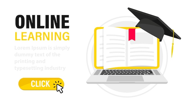 E-learning, online education at home. digital online education. laptop with book's pages as screen. web page with books and a graduation hat. online training, workshops and courses, cloud technology