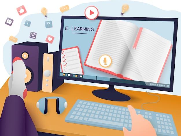 Электронное обучение, онлайн-обучение, домашнее обучение. расслабленный человек смотрит онлайн-тренировку.
