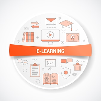 E-learning online education with icon concept with round or circle shape