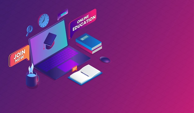 E-learning and online training course isometric design.