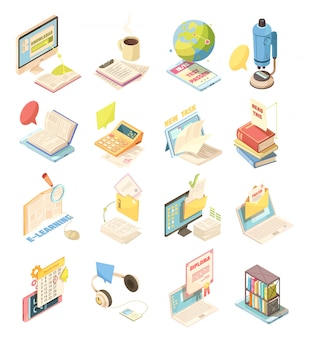 E-learning set of isometric icons