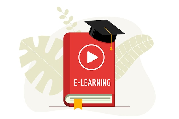 E-learning with play video icon on red cover book and graduation cap. academy hat on online education studying and internet teaching homework webinar concept. vector flat illustration