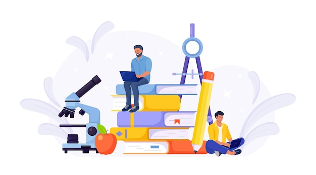 E-learning. young people using laptop for distance studying. guys sitting on pile of books and reading. online education or business training, study guides, exam preparation, homeschooling