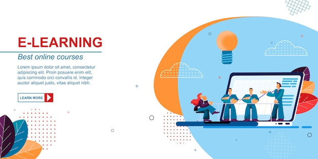 Плоский баннер e-learning лучшие онлайн курсы вектор.