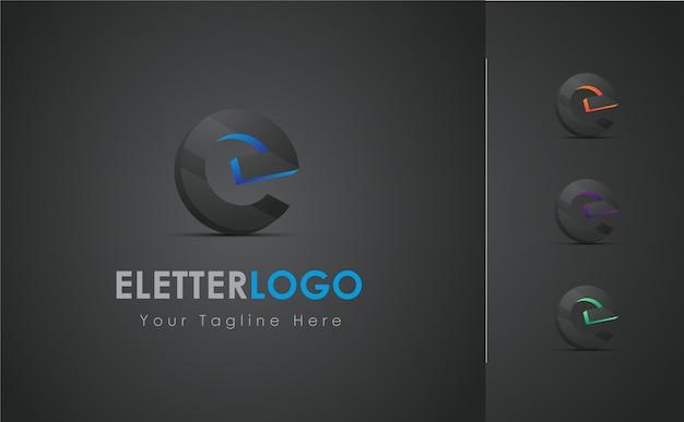 E letter 3d logo design set