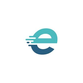 E letter dash lowercase tech digital fast quick delivery movement blue logo vector icon illustration