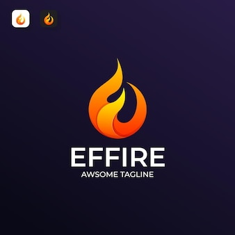 E letter and fire logo