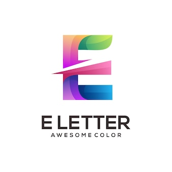 E letter geometric colorful logo gradient abstract