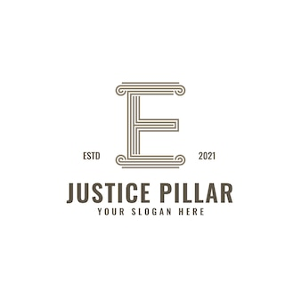 E письмо логотип столба правосудия и юридической фирмы жирные профессиональные линии искусства