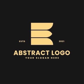 E letter luxurious gold geometric block concept logo vector icon illustration