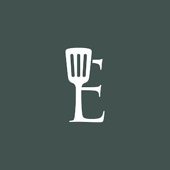 E letter spatula kitchen restaurant chef logo vector icon illustration