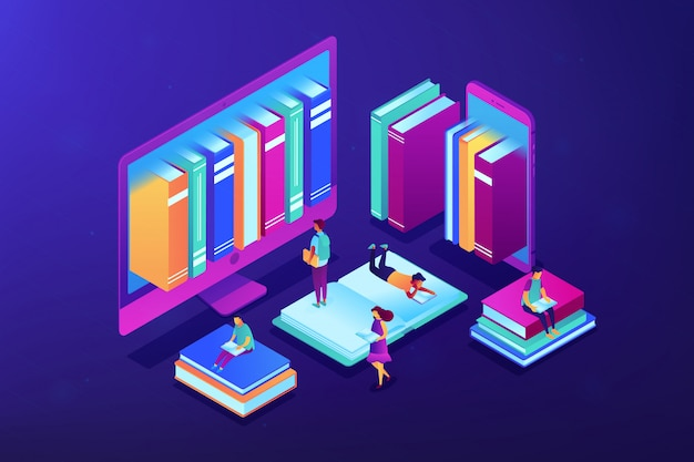 E-library isometric 3d concept illustration.