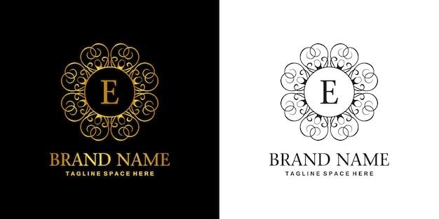 E logo initial luxury ornament emblem