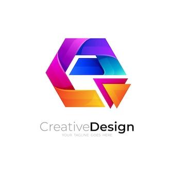 カラフルな六角形のデザインのeロゴ、抽象的なロゴテンプレート