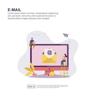 E-mail concept flat design for presentation.