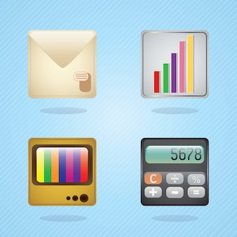 E-mail icons calculator statistics tv on blue background