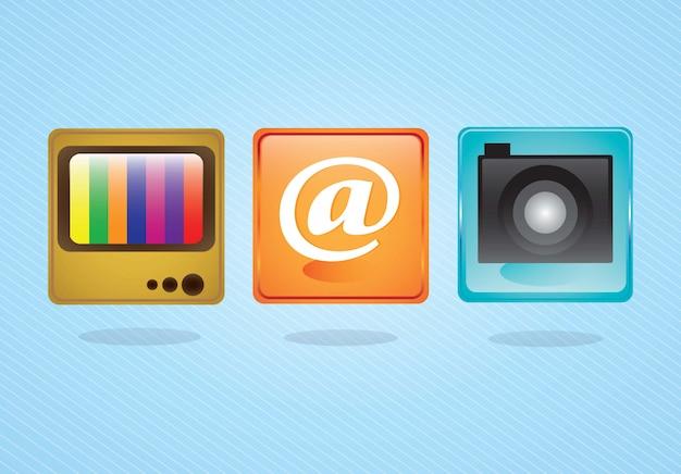 電子メールアイコンカメラアプリケーションとテレビの青い背景に