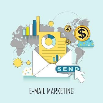 Eメールマーケティングの概念:ラインスタイルでeメールを送信する準備ができています
