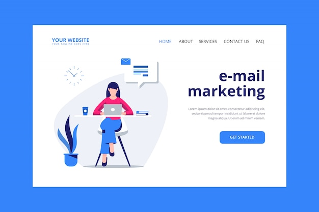 E-mail marketing landing page