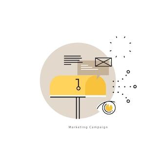 전자 메일 마케팅, 온라인 광고 평면 벡터 일러스트 레이 션 디자인. 제품 및 서비스 프로모션, 마케팅 캠페인, 모바일 및 웹 그래픽을위한 온라인 커뮤니케이션 디자인