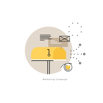 E-mail marketing, online advertising flat vector illustration design. product and services promotion, marketing campaigns, online communication design for mobile and web graphics