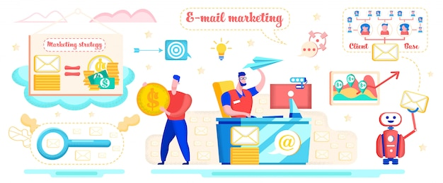 E-mail marketing strategy flat  concept