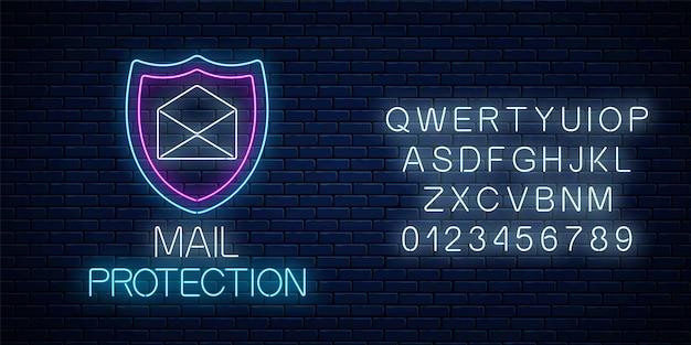 어두운 벽돌 벽 배경에 알파벳이 있는 전자 메일 보호 빛나는 네온 사인. 방패와 열린 편지가 있는 사이버 보안 기호입니다. 벡터 일러스트 레이 션.