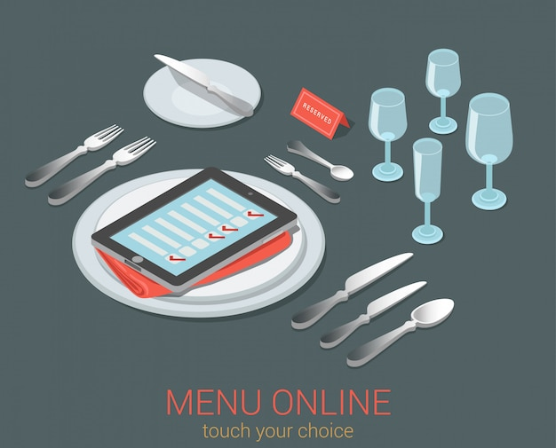 E-menu electronic mobile device menu meal seat online order reservation cafe restaurant flat isometric concept phone tablet checklist on empty plate cutlery kitchen glass  .