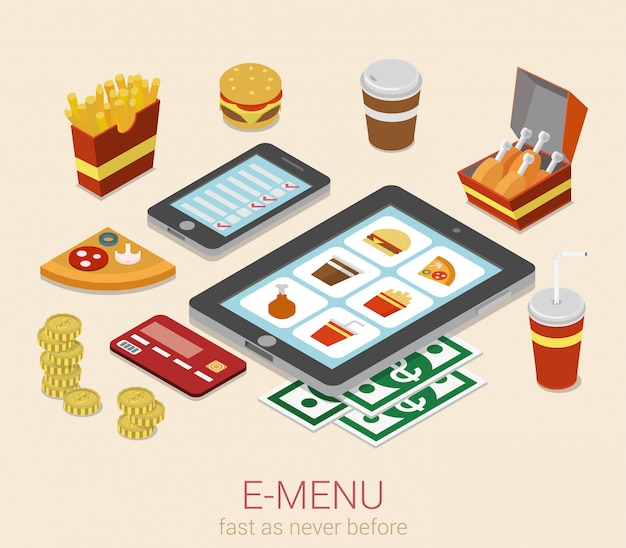 E-menu electronic mobile device menu on phone tablet meal online order isometric concept