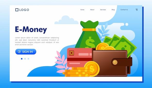 E-money landing page website illustration vector
