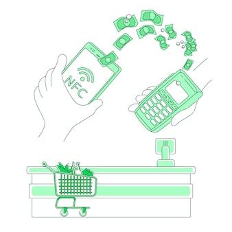 電子決済端末の細い線の概念図。モバイル決済、スマートデバイスを持つ人々webデザインのための2d漫画のキャラクター。 nfcの支払い、送金、電子財布アプリケーションの創造的なアイデア